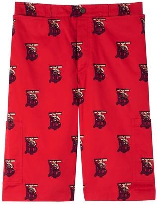 Burberry Monogram Motif Cotton Tailored Shorts