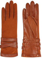 Agnelle Wool-Blend And Leather Gloves