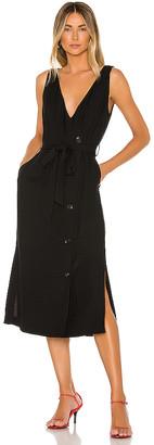 1 STATE Button Front Faux Wrap Midi Dress
