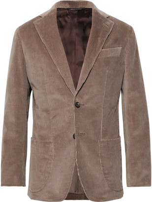 Taupe Slim-Fit Unstructured Cotton-Corduroy Suit Jacket