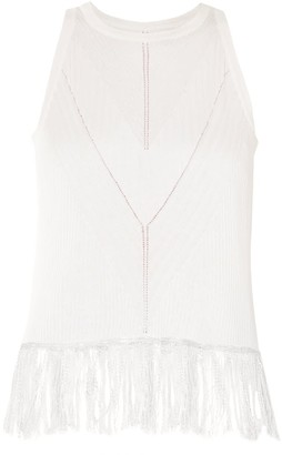 Paisie Knitted Top With Ribbed Details & Fringe In White
