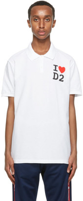 DSQUARED2 White Tennis Fit Polo