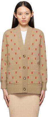 Burberry Beige & Red Wool Monogram Palena Cardigan