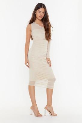 Nasty Gal Womens Be the One Shoulder Mesh Midi Dress - Stone