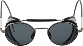 Thom Browne Navy & Grey Side Shield Round Sunglasses