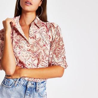 River Island Pink paisley embellished shirt