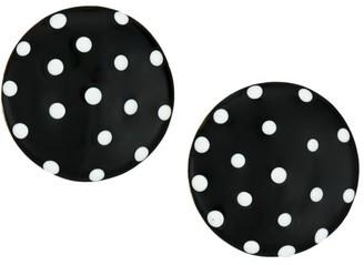 Kenneth Jay Lane Black Enamel Polka Dot Button Clip-On Earrings