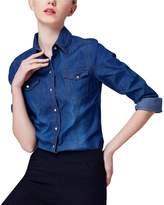 Yeokou Women's Classic Long Sleeve Button Down Denim Shirt
