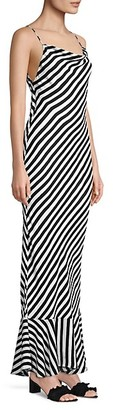 Saloni Stella Striped Ruffle-Hem Maxi Dress