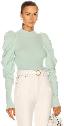 Jonathan Simkhai Drea Drape Sleeve Sweater in Mint | FWRD