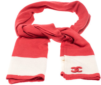 Chanel Coral Orange Wool and Silk Blend Stole