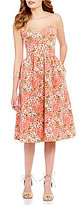 GB Floral Print Sweetheart Neck Fit-and-Flare Midi Dress