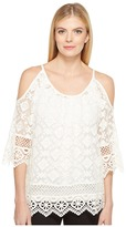 Karen Kane Cold Shoulder Lace Top Women's Clothing
