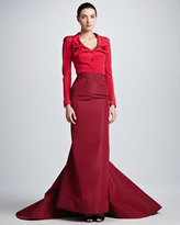 Zac Posen Taffeta Mermaid Full-Length Skirt, Tuscan Red