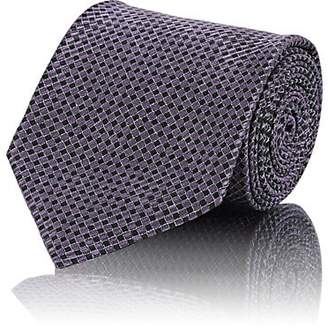 Brioni MEN'S CHECK SILK NECKTIE - PURPLE