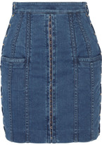Balmain Lace-up Stretch-denim Mini Skirt - Mid denim