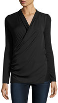 Laundry by Shelli Segal Faux-Wrap Mixed-Media Top, Black