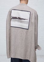 Raf Simons white & brown oversized shirt with neck strap & marty gibsons arm