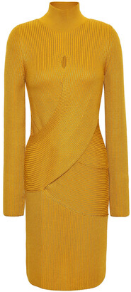 Roberto Cavalli Crossover Ribbed Wool-blend Turtleneck Mini Dress