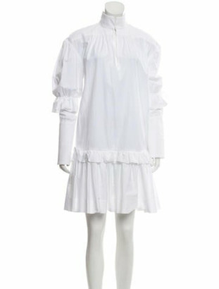 Ellery Mock Neck Mini Dress White