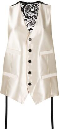 Ann Demeulemeester Metallic Lace-Panel Waistcoat
