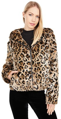 Love Token Maggy Hooded Faux Fur Short Coat (Leopard) Women's Coat