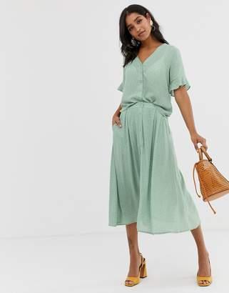 Vila spotty button through skirt-Multi