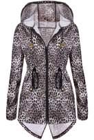 Meaneor Women's Hooded Jacket Long Raincoat Wind proof Jacket L