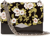 Rochas Floral-embroidered velvet and leather shoulder bag