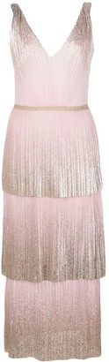 Marchesa Foil Pleated Tiered Midi Dress