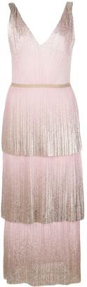 Marchesa foil pleated tiered midi dress
