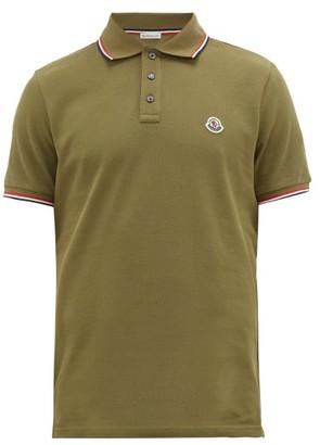 Moncler Tipped-trim Logo-plaque Cotton-pique Polo Shirt - Khaki