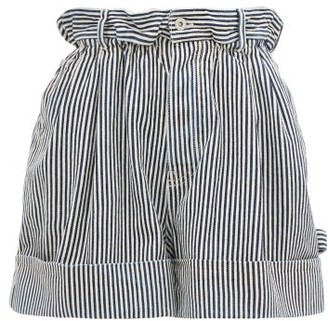 Miu Miu Paperbag-waist Striped Denim Shorts - Navy