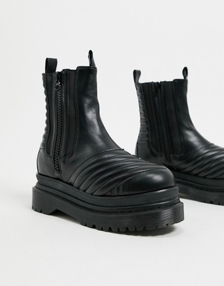 Jeffrey Campbell Rugged chunky flat ankle boot in black