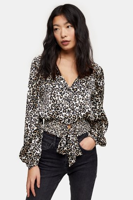 Topshop Womens Petite Animal Print Shirred Tie Front Top - Natural