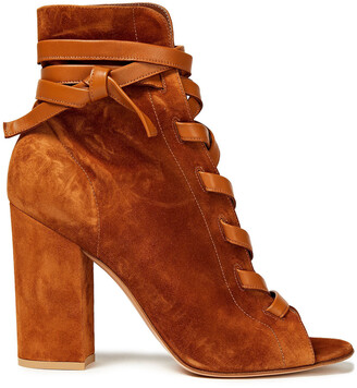 Gianvito Rossi Brooklyn Leather-trimmed Suede Ankle Boots
