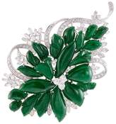 LC Collection Diamond jade 18k white gold floral brooch
