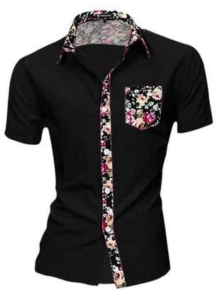 Unique Bargains Men Summer Pocket Short Sleeves Button Down Hawaiian Shirt M (US 38) Black