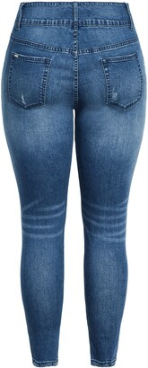 City Chic Baby High Waist Ripped Skinny Jeans