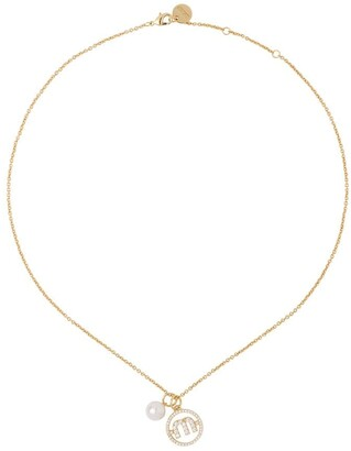 Miu Miu Logo Pearl Chain Necklace