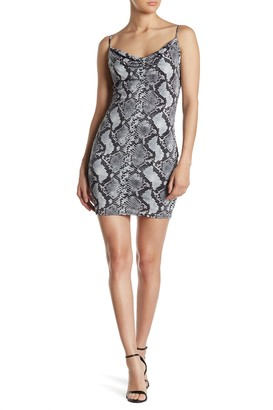 Jump Snakeskin Print Cowl Bodycon Mini Dress