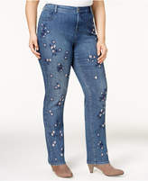 Style and Co Plus Size Curvy Embroidered Slim-Leg Jeans, Created for Macy's