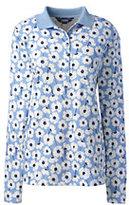 Lands' End Women's Petite Pima Polo Shirt-Fresh Sky Floral