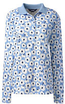 Lands' End Women's Tall Pima Polo Shirt-Fresh Sky Floral