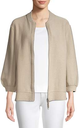Lafayette 148 New York Fitted Sequin Knit Bomber Cardigan