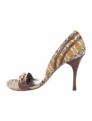 Gucci Hasler Horsebit Accent Raffia Sandals