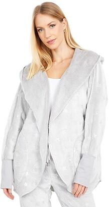 Dylan by True Grit Dream Fleece Vintage Silver Stars Cozy Cardi (Heather/Silver) Women's Clothing
