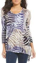 Multiples 3/4 Sleeve Patch Print 3/4 Sleeve Tuck Front Details Tunic