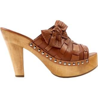 Miu Miu Brown Leather Mules & Clogs