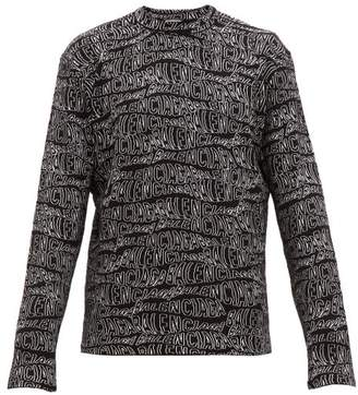 Balenciaga Logo Jacquard Wool Blend Sweater - Mens - Black White